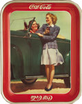 Advertising:Trays, 1942 Girls by the Car Coca-Cola Tray,...