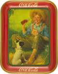 Advertising:Trays, Coca-Cola Norman Rockwell-Style Farm Boy and Dog Advertising Tray,...