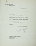"Autographs:U.S. Presidents, Franklin Roosevelt: Typed Letter Signed ""F.D.R."" as President...."