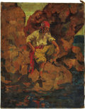 Mainstream Illustration, AMERICAN ILLUSTRATOR (20th Century). Pirate. Oil on canvas.19 x 15 in.. Not signed. ...