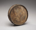 "Military & Patriotic:Civil War, Classic Civil War Confederate Cedar Wood Drum Canteen Bearing the Hand-Carved Legend ""J. K. Pierce/ his/ canteen"" on the Face ..."