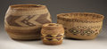 American Indian Art:Baskets, TWO NORTHERN CALIFORNIA AND ONE NORTHWEST COAST POLYCHROME TWINEDBASKETS. c. 1920... (Total: 3 Items)