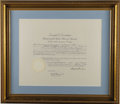 Autographs:U.S. Presidents, Dwight D. Eisenhower: Signed Presidential Appointment also Signed by Acting Secretary of State Herbert Hoover, Jr....