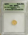 California Fractional Gold: , 1876 50C Indian Round 50 Cents, BG-1038, R.4, MS61 ICG. NGC Census:(0/10). PCGS Population (9/37). (#10867)...