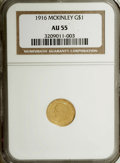 Commemorative Gold: , 1916 G$1 McKinley AU55 NGC. NGC Census: (9/2162). PCGS Population(34/4184). Mintage: 9,977. Numismedia Wsl. Price for NGC/...