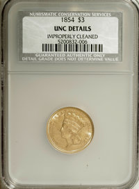 1854 $3 --Improperly Cleaned--NCS. Unc Details. NGC Census: (28/801). PCGS Population (16/526). Mintage: 138,618. Numism...