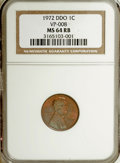 Lincoln Cents, 1972 1C Double Die Obverse MS64 Red and Brown NGC. VP-008. PCGSPopulation (9/4). Mintage: 2,933,224,960...