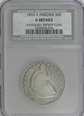 Seated Half Dollars, 1855-S 50C Arrows--Damaged, Improperly Cleaned--NCS. Good Details.NGC Census: (1/47). PCGS Population (0/52). Mintage: 129...