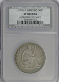 Seated Half Dollars: , 1855-S 50C Arrows--Improperly Cleaned--NCS. VF Details. NGC Census:(1/37). PCGS Population (6/30). Mintage: 129,950. Numis...