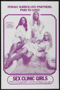 """Movie Posters:Adult, Sex Clinic Girls (Unknown, 1970s). One Sheet (27"""" X 41"""") Tri-Folded. Adult...."""