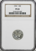 Proof Mercury Dimes: , 1941 10C PR65 NGC. NGC Census: (661/1295). PCGS Population(1322/1318). Mintage: 16,557. Numismedia Wsl. Price for NGC/PCGS...