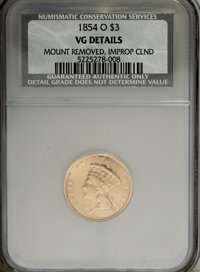 1854-O $3 --Improperly Cleaned, Mount Removed--NCS. VG Details. NGC Census: (1/668). PCGS Population (0/392). Mintage: 2...