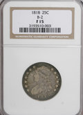 Bust Quarters: , 1818 25C F15 NGC. B-2. NGC Census: (16/306). PCGS Population (20/296). Mintage: 361,174. Numismedia Wsl. Price for NGC/PCG...