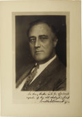 Autographs:U.S. Presidents, Franklin D. Roosevelt: Photographic Portrait Inscribed as Governor of New York....
