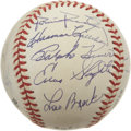 Autographs:Baseballs, 1997 Hall of Fame Induction Ceremony Multi Signed Baseball. Many ofbaseball's luminaries were present at the 1997 ceremon...