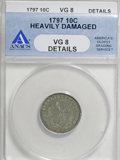 Early Dimes, 1797 10C 16 Stars--Heavily Damaged--ANACS. VG 8 Details. NGCCensus: (1/51). PCGS Population (2/59). Mintage: 25,261. Numis...