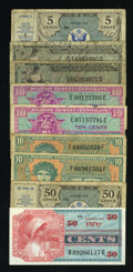 Military Payment Certificates:Series 461, MPC Fractional Lot.... (Total: 9 notes)