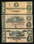 Confederate Notes:Group Lots, Three Different 1864 Confederate Notes.. ... (Total: 3 notes)
