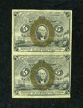 Fractional Currency:Second Issue, Fr. 1232 5c Second Issue Vertical Pair About New....