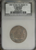 Colonials: , 1787 1C Fugio Cent, STATES UNITED, 4 Cinquefoils, PointedRays--Corroded--NCS. Good Details. NGC Census: (0/0). PCGSPopula...