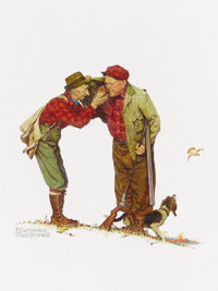 NORMAN ROCKWELL (American 1894 - 1978) Two Old Men and Dog: Hunting, Brown & Bigelow: Four Seasons Cale