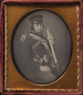 Photography:Daguerreotypes, Sixth Plate Daguerreotype of a Frontiersman with Hawken-Style Rifle, ca. 1850s....
