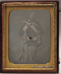 Photography:Daguerreotypes, Quarter Plate Daguerreotype of a Frontiersmen with Dragoon Pepperbox & Half Stock Percussion Rifle, ca. 1850s. ...