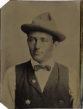 Photography:Tintypes, 1/6th Plate Tintype Young Lawman or Deputy Sheriff with Badge ca1870s-1880s. ...