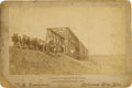 Photography:Cabinet Photos, Kansas Wagon Trains-Horses Crossing the Bridge, Imperial SizeCabinet Card ca 1890s. . ...