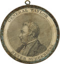 Political:Ferrotypes / Photo Badges (pre-1896), Zachary Taylor: Rare Large Brass Campaign Shell with Inset Portrait....