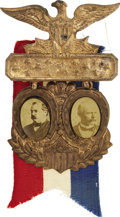 Political:Ferrotypes / Photo Badges (pre-1896), Cleveland & Stevenson: Choice Jugate Badge....
