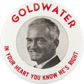 "Political:Pinback Buttons (1896-present), Barry Goldwater: Extremely Unusual 3½"" Button Variety...."