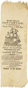 Political:Ribbons & Badges, William Henry Harrison: Most Unusual, Unlisted Large 1840 Campaign Ribbon, also Commemorating Matthew Perry's Naval Victory on...