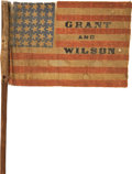 Political:Textile Display (pre-1896), Grant & Wilson: Probably Unique 1872 Name Flag on the OriginalStick....