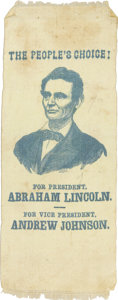 Political:Ribbons & Badges, Abraham Lincoln: Classic 1864 Campaign Ribbon on Rare Yellow Silk....