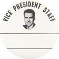 "Political:Pinback Buttons (1896-present), Richard Nixon: Most Unusual 3½"" Button Showing Nixon as VicePresident...."