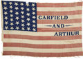 Political:Textile Display (pre-1896), Garfield & Arthur: Nice Sized Cloth Name Flag from the 1880Campaign....