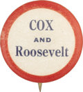 "Political:Pinback Buttons (1896-present), Cox & Roosevelt: Deceptively Rare 1920 7/8"" Name Pin...."