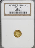 California Fractional Gold: , 1874 $1 Indian Octagonal 1 Dollar, BG-1124, High R.4, MS61 NGC. NGCCensus: (2/5). PCGS Population (8/32). (#10935)...