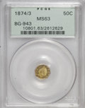 California Fractional Gold: , 1874/3 50C Indian Octagonal 50 Cents, BG-943, High R.4, MS63 PCGS.PCGS Population (11/13). NGC Census: (2/8). (#10801)...