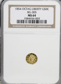 California Fractional Gold: , 1854 50C Liberty Octagonal 50 Cents, BG-305, Low R.4, MS64 NGC. NGCCensus: (2/1). PCGS Population (7/1). (#10425)...