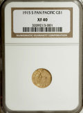 Commemorative Gold: , 1915-S G$1 Panama-Pacific Gold Dollar XF40 NGC. NGC Census:(1/3178). PCGS Population (5/5300). Mintage: 15,000. Numismedia...