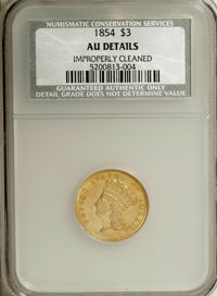 1854 $3 --Improperly Cleaned--NCS. AU Details. NGC Census: (128/2665). PCGS Population (251/1662). Mintage: 138,618. Num...