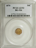California Fractional Gold: , 1870 50C Goofy Head Octagonal 50 Cents, BG-936, Low R.5, AU53 PCGS.PCGS Population (3/39). NGC Census: (0/2). (#10794)...