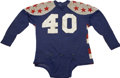 Football Collectibles:Uniforms, 1950s-60s Football All-Star Game Worn Jersey. Judging by the patriotic red-and-white side striping and red felt stars affix...