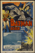 "Movie Posters:Serial, The New Adventures of Batman and Robin (Columbia, 1949). One Sheet(27"" X 41"") Chapter 3 -- ""Robin's Wild Ride."" Serial...."