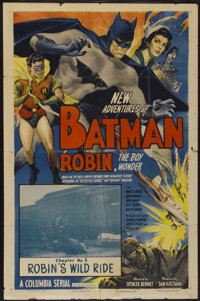 """The New Adventures of Batman and Robin (Columbia, 1949). One Sheet (27"""" X 41"""") Chapter 3 -- """"Robin's Wild..."""