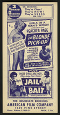 "Movie Posters:Bad Girl, The Blonde Pick-Up/Jail Bait Combo (Globe Roadshows, 1951). Herald(4.5"" X 9""). Bad Girl...."