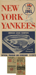 Baseball Collectibles:Programs, Roger Maris 61st Home Run Program and Ticket Stub. October 1, 1961 began a new era in baseball. This is the day Roger Maris...