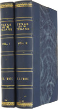 Books:First Editions, Henry Stuart Foote. Texas and the Texans; ... (Total: 2Items)